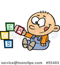 Cartoon Happy Baby Boy Playing with Alphabet Blocks by Toonaday
