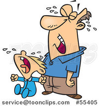 Cartoon Frustrated Father Crying with His Son by Toonaday