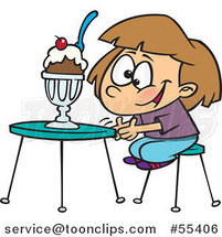 Cartoon Excited Girl with an Ice Cream Sundae by Toonaday