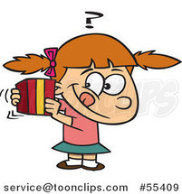 Cartoon Girl Trying to Guess a Gift by Ron Leishman