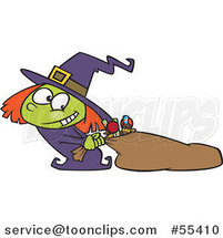 Cartoon Halloween Witch Girl Hauling Her Candy Sack by Toonaday