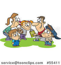 Cartoon Huddling Family Going over a Football Play Book by Toonaday
