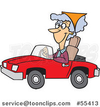 Cartoon Old Lady Driving a Red Convertible Car by Ron Leishman