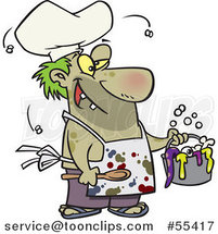 Cartoon Stinky Chef Serving a Gross Stew by Ron Leishman