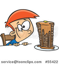Cartoon Hungy Boy Gazing at a Stack of Pancakes Dripping with Syrup by Toonaday
