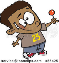 Cartoon Happy Black Boy Holding up a Lollipop by Toonaday