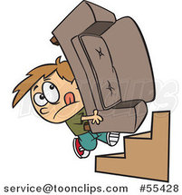 Cartoon Mover Boy Carrying a Couch up Stairs by Toonaday