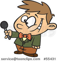 Cartoon Interviewing Boy Holding out a Microphone by Toonaday