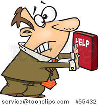 Cartoon Frantic Business Man Pushing a Help Button by Ron Leishman