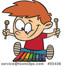 Cartoon Happy Boy Playing a Xylophone by Ron Leishman