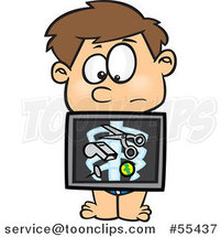 Cartoon Boy with an Xray Showing Swallowed Items by Toonaday