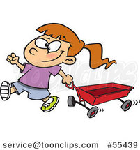 Cartoon Happy Girl Pulling a Red Wagon by Toonaday