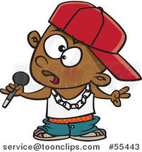 Cartoon Black Boy Rapper Musician Holding a Microphone by Ron Leishman
