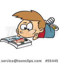 Cartoon Boy Reading a Catalog by Toonaday