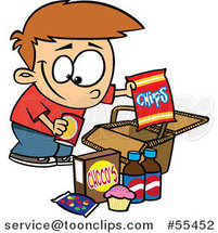 Cartoon Boy Packing Junk Food into a Picnic Basket by Ron Leishman