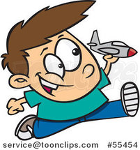 Cartoon Boy Running and Playing with a Toy Jet by Ron Leishman