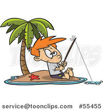 Cartoon Boy Fishing on a Tropical Island by Ron Leishman