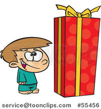 Cartoon Boy Standing by a Large Christmas Gift Box by Ron Leishman