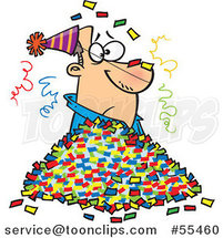 Cartoon Guy in a Pile of Party Confetti by Ron Leishman