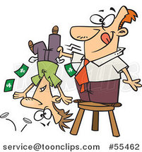 Cartoon Guy Standing on a Stool and Shaking Money from a Guys Pockets by Ron Leishman