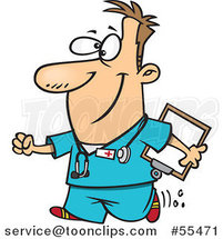 Cartoon Happy Nurse Carrying a Clipboard by Ron Leishman