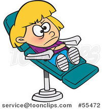 Cartoon Stubborn Girl in a Dentist Chair by Ron Leishman