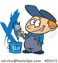 Cartoon Painter Boy with a Bucket of Blue Paint by Toonaday