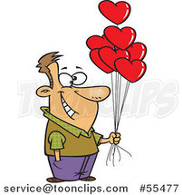 Cartoon Happy Guy Holding out Valentine Heart Balloons by Ron Leishman