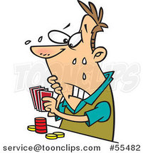 Cartoon Flushed Guy Playing Poker by Ron Leishman