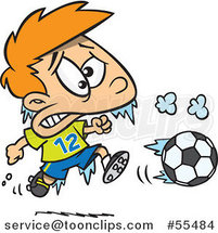 Cartoon Frozen Boy Playing Soccer by Ron Leishman