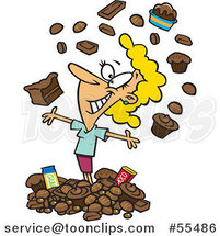 Cartoon Happy Blond Lady Surrounded with Chocolate by Ron Leishman