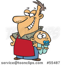 Cartoon Proud Stay at Home Dad Holding a Baby by Ron Leishman