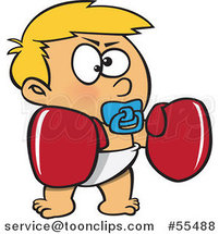 Cartoon Blond Toddler Boy with Boxing Gloves by Ron Leishman