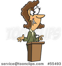 Cartoon Happy Brunette Lady Speaking at a Podium by Ron Leishman