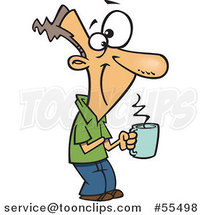 Cartoon Happy Guy Holding a Hot Cup of Coffee by Ron Leishman
