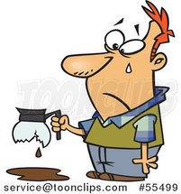 Cartoon Tearing Guy Holding a Broken Coffee Pot by Ron Leishman