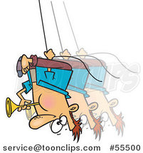Cartoon Guy Swinging Upside down and Blowing a Horn by Ron Leishman