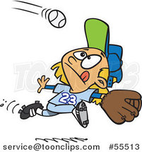 Cartoon Focused Girl Running to Catch a Baseball by Ron Leishman