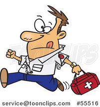 Cartoon Running EMT with a First Aid Kit by Ron Leishman