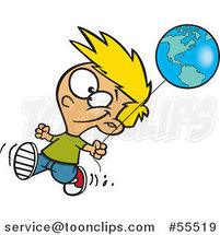 Cartoon Happy Blond Boy Walking with an Earth Day Balloon by Ron Leishman