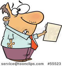 Cartoon Scared Guy Holding out a File by Ron Leishman