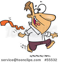 Cartoon Excited Guy Ripping His Tie off and Running Bare Foot by Ron Leishman