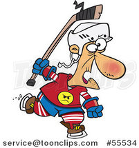 Cartoon Old Hockey Geezer Guy by Ron Leishman
