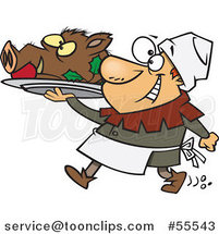 Happy Castle Cook Chef Carrying a Pig Head on a Platter Cartoon by Ron Leishman