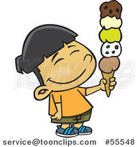 Happy Asian Boy Holding a 5 Scoop Waffle Ice Cream Cone Cartoon by Ron Leishman