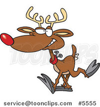 Cartoon Reindeer Walking by Ron Leishman