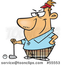Serious Golfer Guy Posing Cartoon by Ron Leishman