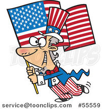 Cartoon Uncle Sam Carrying an American Flag by Toonaday