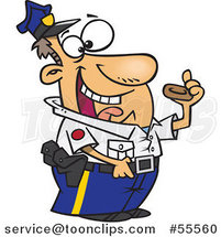 Cartoon Police Officer Eating a Donut by Ron Leishman