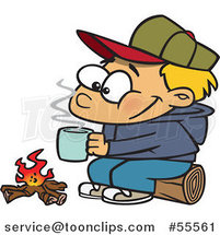 Cartoon Happy Blond Boy with Hot Cocoa by a Camp Fire by Ron Leishman